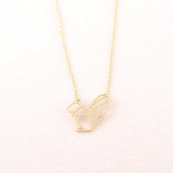 Buy origami squirrel pendant necklace necklaces uae souq 1500 aed aloadofball Image collections