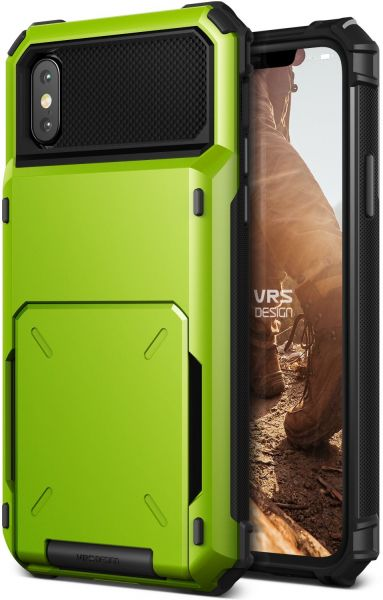 VRS Design iPhone X DAMDA FOLDER Wallet cover / case - Lime Green - Semi  Auto 5 Card slot
