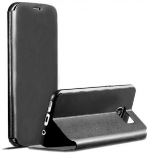 X-level FibColor Leather Flip Case Cover with Screen Protector for Samsung Galaxy S7 edge G935F in Black