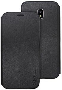 X-level FibColor Leather Flip Case Cover for Samsung Galaxy J7 Pro in Black