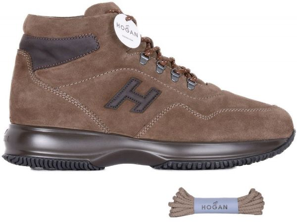 Hogan Men's Hxm00n0v900hka0gsh Brown Suede Hi Top Sneakers