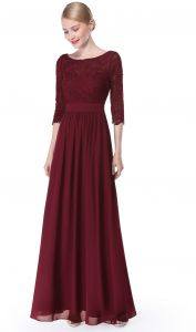 af858ff5638 Ever Pretty Womens Elegant Three-Quarter Sleeve Long Mother Of the Bride  Dress 10 US Burgandy