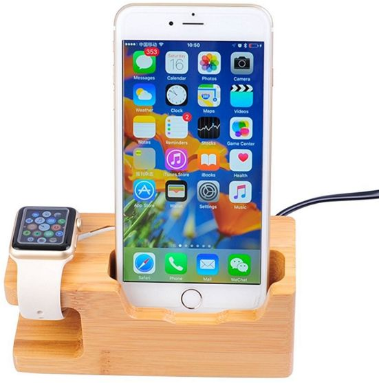 3 Port Usb Charger With Apple Watch Phone Organizer Stand Cradle Holder Desktop Bamboo Wood Charging Station For Iwatch