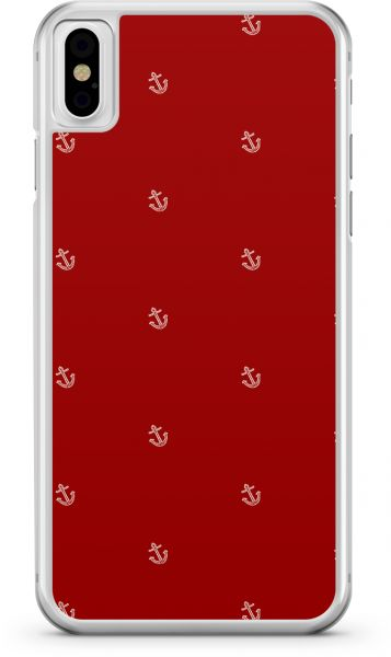 Apple iPhone X Transparent Edge Red Nautical Pattern - Multi Color