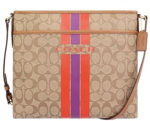 Coach F38402 IMBDB Signature Coated Canvas Varsity Stripe File Crossbody Bag  In Khaki   Watermelon 6e4cf82f34062
