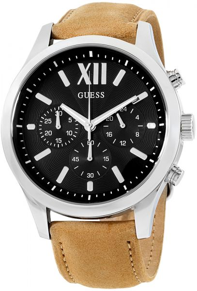 006b8d7309f16 Guess Men s Black Dial Leather Band Watch - W0789G1
