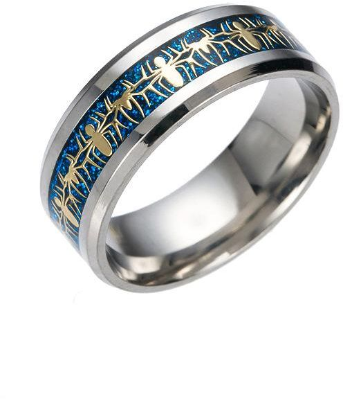 Buy fashion stainless steel Spider Man unisex blue ring Size 9 US