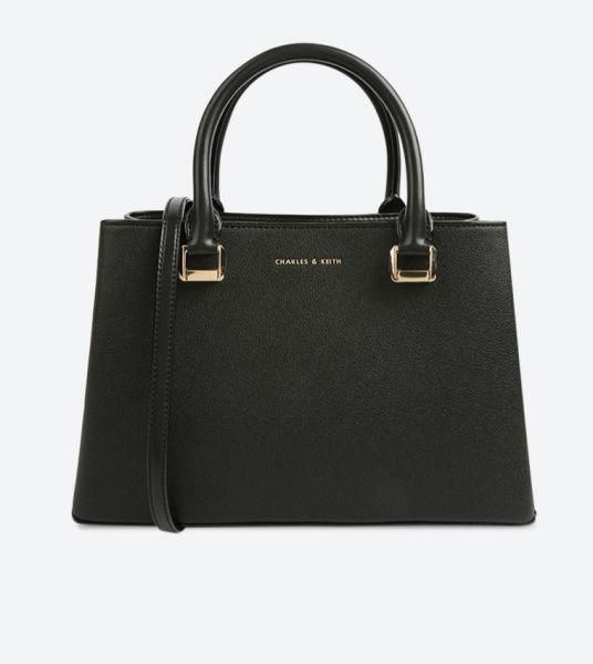 Charles Keith Structured Tote Bag Black