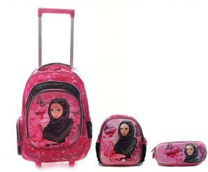 3d2d11509a17 Arabic Style School trolley bag with lunch bag and pencil case for girls