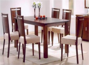 6 Seater Dining Table With Chairs Dark Walnut