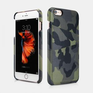 ICARER Camouflage Card-slot Hand Made Natural Leather Back Cover Series For  iPhone 6 Plus 6S Plus f95f77b032
