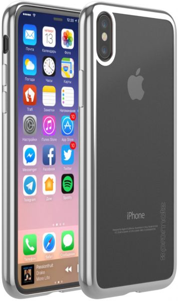 finest selection 22043 45ac0 Promate iPhone X Cover, Premium Transparent Ultra-Slim Shock Resistance  Bumper case with Drop Protection and Reinforces Metallic Edges for Apple ...