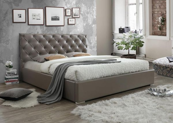 Emily King Size Upholstered Bed In Taupe Pu Colour Souq Uae