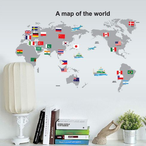 Pvc world map wallpaper price review and buy in dubai abu dhabi this item is currently out of stock gumiabroncs Gallery