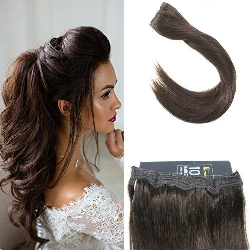 Sunny 16inch Halo Hair Extensions Human Hair 80g 12inch Width ...