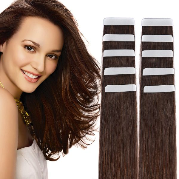 Souq 14 Tape In Hair Extensions Remy Human Hair Seamless Glue In