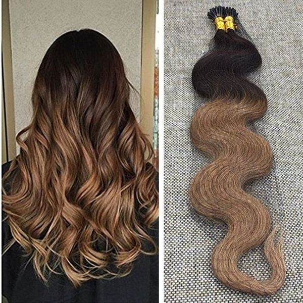 Ugeat 18inch 50gram Two Tone Ombre Pre Bonded Hair Extensions