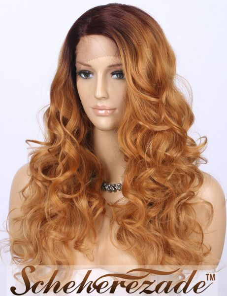Scheherezade Light Brown Wavy Lace Front Wigs for Women Ombre Dark Brown  Roots Long Synthetic Wig LDSL180 L Shape Deep Right Side Parting  4  30 (20  inches) e11bfeb31c