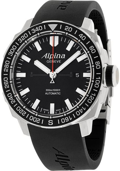 Alpina Mens Black Dial Silicone Band Watch ALLBV Price - Alpina watch price