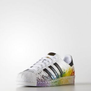 Adidas Originals Superstar Rainbow Paint Splatter White Black Fashion Shoes
