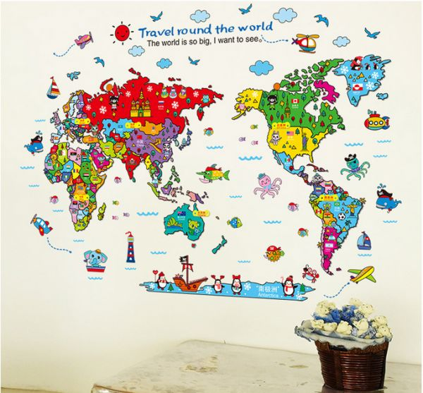 Cartoon monuments the country map world map wall sticker for baby this item is currently out of stock gumiabroncs Image collections
