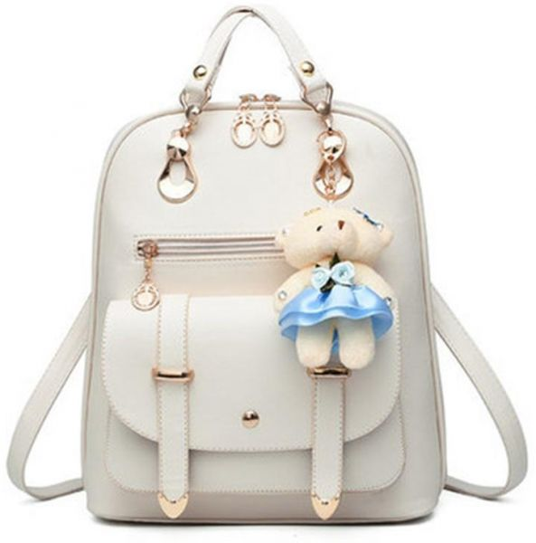 Women s Backpack Purse Pu Leather Ladies Casual Shoulder Bag School Bag for  Girls-White  5b9f59dbc4a22