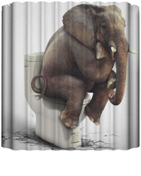 Cartoon Printed Elephent Polyester Shower Curtain Waterproof Home