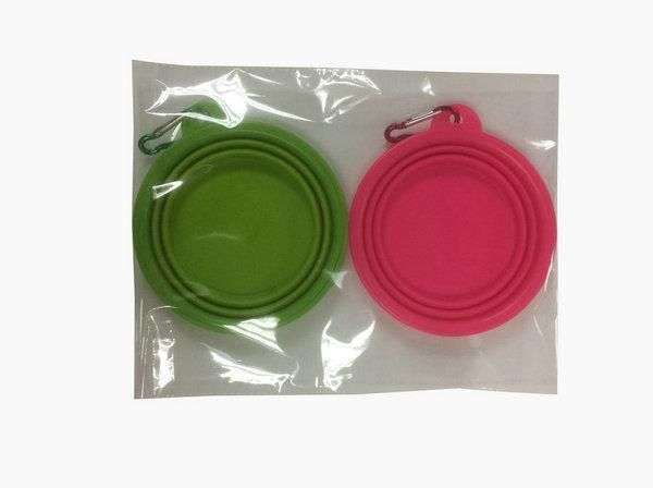 Collapsible Dog Cat Travel Bowl, Set of 2, Portable Pets Pop-up Food Water Feeder Foldable Bowls with Carabiner Clip