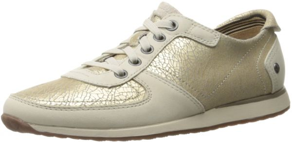 Hush Puppies Women's Chazy Dayo Flat, Light Gold Leather, 5.5 M US