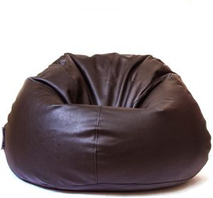 Astounding Wavy Relaxing Chair Bean Bag Leather Medium Brown Pabps2019 Chair Design Images Pabps2019Com