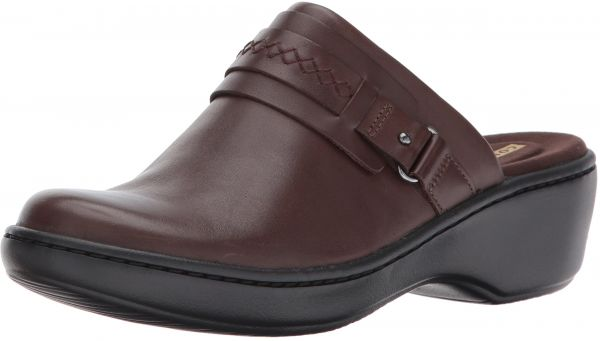 Clarks Women's Delana Amber Mule, Dark Brown Leather, 10 W US