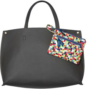2b48f838076 C.R. Gibson 3-Piece Bag Set, Includes Large Leatherette Tote, Laptop Pouch  and Canvas Wristlet, Tote Measures 22.5