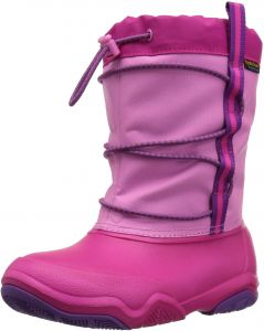 crocs Kids' Swiftwater Waterproof K Snow Boot, Party Pink/Candy Pink, 1 M  US Little Kid