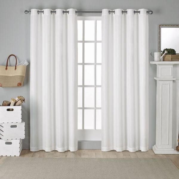 Exclusive Home Curtains Virenze Faux Silk Window Curtain Panel Pair 54x96 Inches White EH7969-10 2-96G