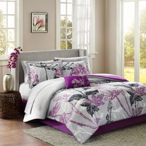 Madison Park Essentials Claremont King Size Bed Comforter Set Bed in A Bag  - Purple, Grey, Floral - 9 Pieces Bedding Sets - Ultra Soft Microfiber ...