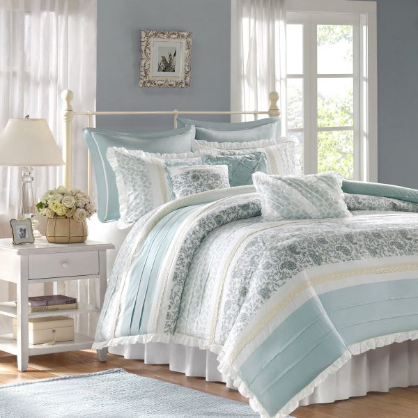 Phenomenal Madison Park Dawn Duvet Cover King Size Aqua Floral Shabby Chic Duvet Cover Set 9 Piece 100 Cotton Percale Light Weight Bed Comforter Covers Home Remodeling Inspirations Basidirectenergyitoicom