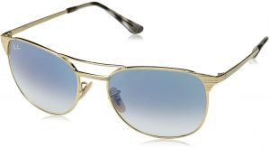 a64f06c70 Ray-Ban Men's Metal Man Square Sunglasses, Gold Frame/Gradient Blue Lenses,  58 mm