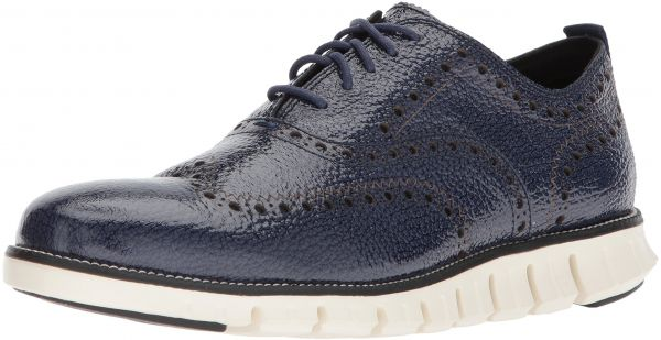 Cole Haan Men's Zerogrand Oxford Outlet Exclusive II, Marine Blue Bubble  Patent/Ivory, 8 Medium US