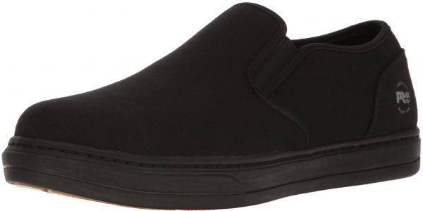 Timberland PRO Men's Disruptor Slip-on Alloy Safety Toe EH Industrial and Construction Shoe, Black/White Canvas, 11 W US