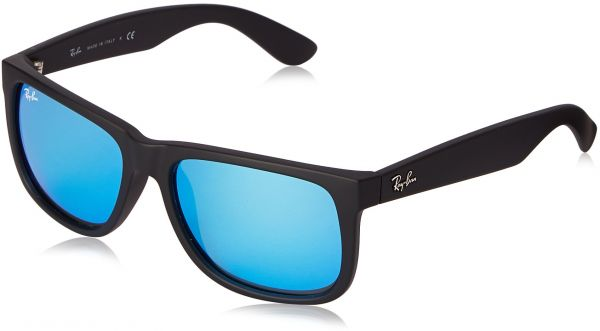 a72fcc5619 Ray-Ban JUSTIN - BLACK RUBBER Frame GREEN MIRROR BLUE Lenses 51mm  Non-Polarized