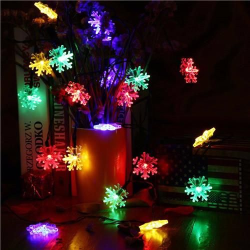 6m 40leds Colorful Light Battery Snow String Led Garland Lights For Wedding Holiday Decoration Lamp Festival Christmas Outdoor Lighting