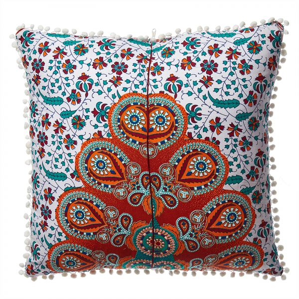 Nidhi Red Orange And White Tapestry Pillow Floor Pillow Euro Adorable 30 Inch Euro Pillow Inserts