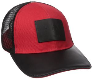 b4f7c4b0f30d60 Armani Exchange Men's Logo Patch Mesh Trucker Hat, Absolute Red, One Size