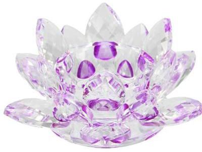 Handmade Crystal Lotus Flower Candle Holders Candlestick Glass