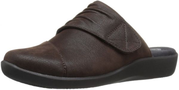 CLARKS Women's Sillian Rhodes Mule, Grey Synthetic Nubuck, 9 M US