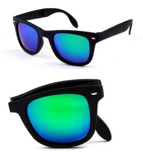 96eca46ac1 Folding Sunglasses With Box Sports Outdoor Driving Eyewear Black Frame Green  Mercury Lens