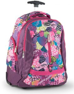94b256a4491a Focus Floral School Trolley Backpack Bag with Front Compartment for Girls 18  inches