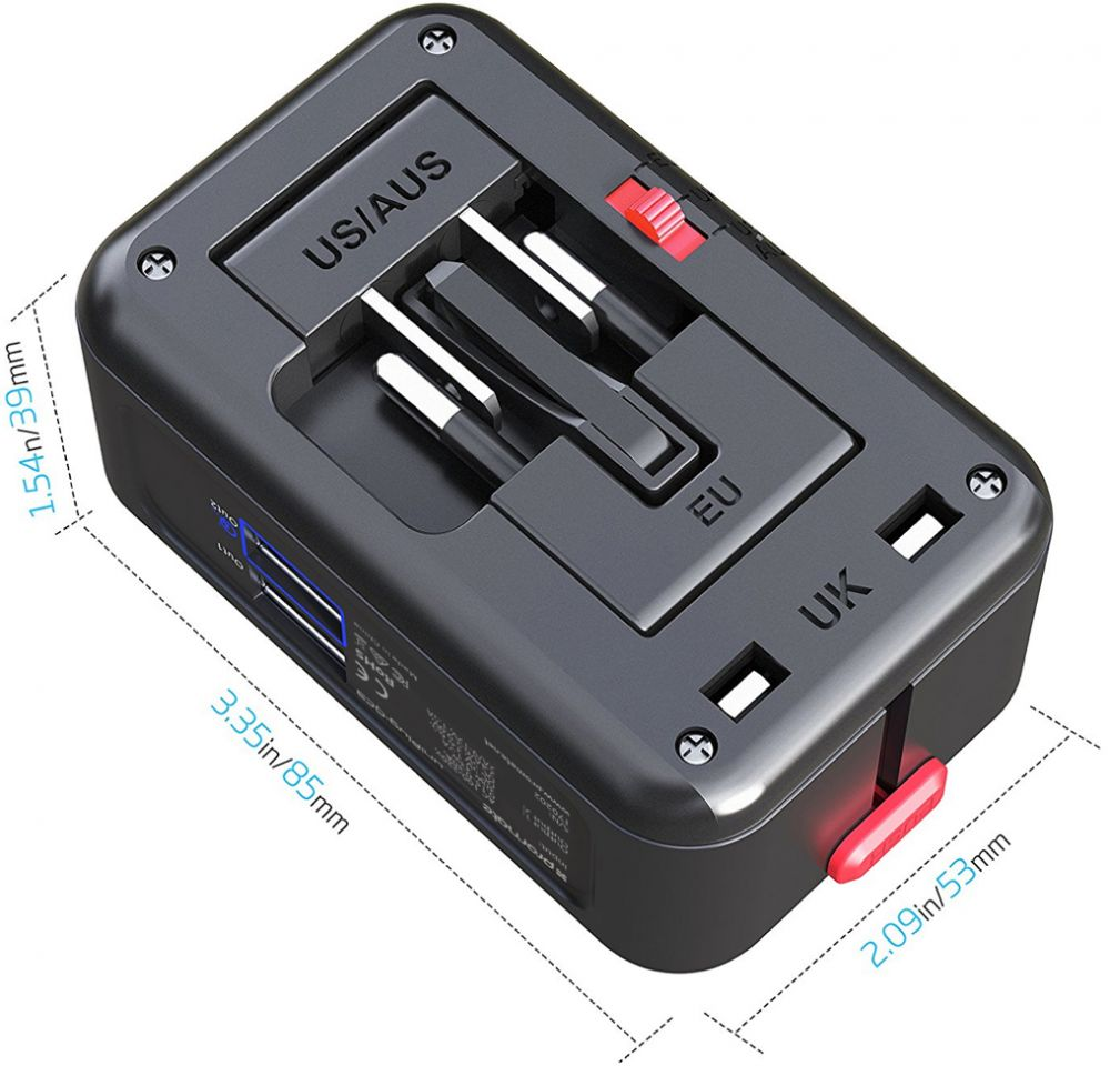 Promate Travel Adaptor Uniplug Qc3 Universal With 30 Dual Usb Port Anker Powerdrive 2 Car Charger Qc A2224h12 Product
