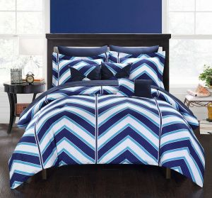 Chic Home 10 Piece Surfer Chevron And Geometric Printed REVERSIBLE King Bed  In A Bag Comforter Set Navy Sheets Set And Deocrative Pillows Included King  Blue ...
