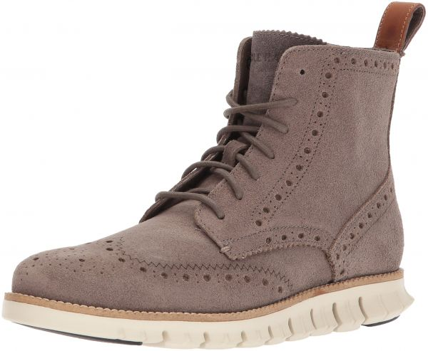 Cole Haan Men's Zerogrand Wingtip Fashion Boot, Tonal Rock Suede/Ivory, 8  Medium US